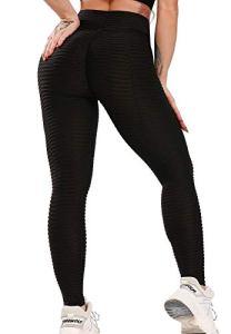 FITTOO Leggings de Sport Anti-Cellulite Femme Pantalon de Fitness Collant de Compression Taille Haute Slim Push Up Butt Lifter Pants Yoga pour Gym Jogging, Noir 1, S