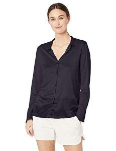 HANRO Grand Central Chemise à manches longues pour femme – Bleu – Taille S