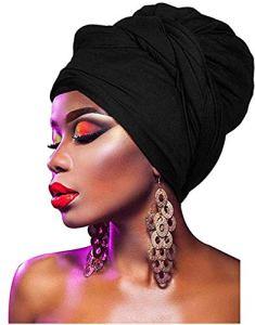 KELAND Femmes Africaine Tête Wrap Extra Long 63 «x32» Bandeaux foulard Turban cravate (Noir)