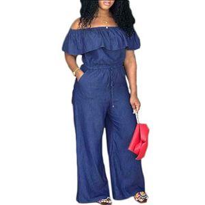 Loalirando Combinaison Pantalon Femme Grande Taille Jumpsuit à Volant en Denim Epaules Dénudées,4XL,Bleu