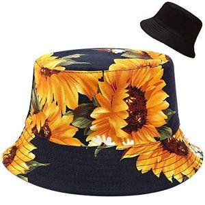Malaxlx Femme Imprimé de Tournesol Chapeau de Pêcheur Chapeau de Soleil Chapeaux de Visière Chapeau de Plage Bobs Pliable Réversible