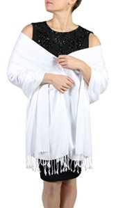 Pashmina pour femmes – Finition en cordelières – Cintre offert (+ de 20 couleurs) Produit artisanal (Blanc)