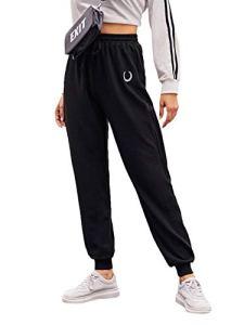 SOLY HUX Pantalon de survêtement à rayures pour femme avec poches et cordon de serrage – Noir – Large