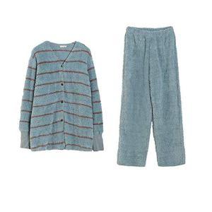 Zjcpow Femmes Pyjama Pyjama Set Bouton à Manches Longues for Femmes de Nuit vers Le Bas Notte Lounge Doux Bouton Ensembles vers Le Bas à Manches Longues Pyjama (Color : Green, Size : 165)