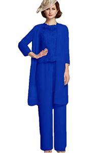 Applique Mère de la Mariée Pantalon Costumes 3 Pièces Dentelle Invité Robe de Mariée Mère du Marié Pantalon Costume – multicolore – 44