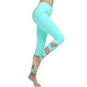 BaoYPP Pantalons de Yoga Pantalon de Yoga for Femme Leggings d'entraînement Power Stretch Flex Tights Aimer la Vie (Couleur : Vert, Size : M)