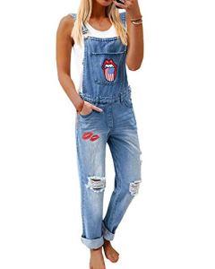 Denim Salopette pour Les Femmes Tongue Imprimer Poches Jeans Jumpsuit Pantalons Pantalons Jarretière Salopettes Casual,Light Blue,XXL