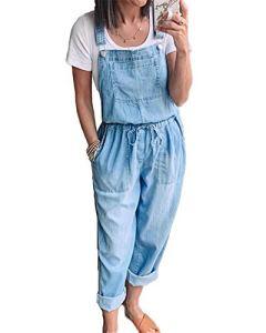 Femmes Denim Casual Jumpsuit, Cordonnet Salopette Manches Lâches Jarretière Jeans Barboteuses avec Poches Big,Light Blue,L