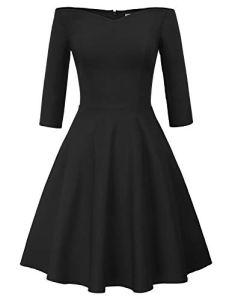 GRACE KARIN Robe Femme Épaule Denudée Taille Haute A-Ligne Noir M CL823-1