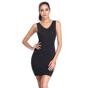 Joyshaper Robe de nuit pour femme avec col en V et col en V – Noir – Small