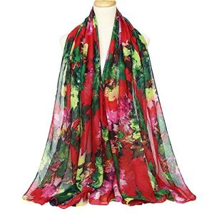 SZZ0306 Écharpe élégante Lady Châle en soie pour femme Imprimé floral Décoration en mousseline de soie Écharpe de plage fine Châle Wrap de crème solaire, longue écharpe pour femme, Orange