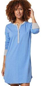 Zeta Ville Femme Maternité Chemise Nuit Allaitement Ouvert Vêtements Nuit 1202 (Mélange Bleu, 42-44, XL)