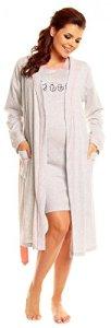 Zeta Ville – Mum Set Peignoir Nuisette Chemise de Nuit Allaitement – Femme 385c (Corail, EU 38, S)