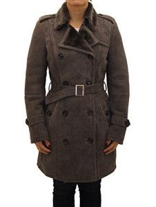 A to Z Leather Manteau Femmes Gris Daim Peau de Mouton Double Boutonnage. Manteau d'hiver tranchŽe.