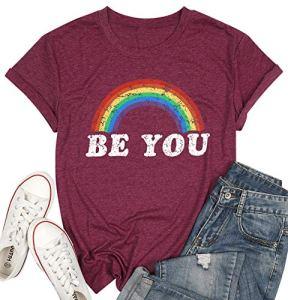 Be You Gay Pride T Shirt LGBT Arc-en-ciel Tees pour Femmes Été Casual Vacation Shirts Imprimer Lettre Manches Courtes Lesbiennes Tops – Rouge – Taille S
