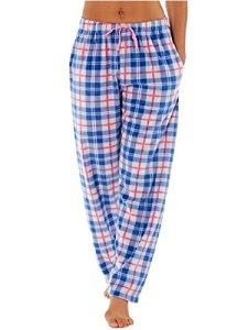 Femmes Selena Secrets Pantalon De Détente Doux À Carreaux Polaire Bas De Pyjama – Bleu, EU 38-40