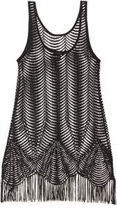 New Look Scallop Crochet Tunique de Plage, Noir (Black 1), 56 (Taille Fabricant: 51) Femme