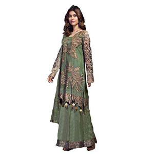 Pinkkart Traditonal Faux Georgette Pakistanais Costume de fête Vêtements de fête Femme Robe de fête 4072 – Vert – 48