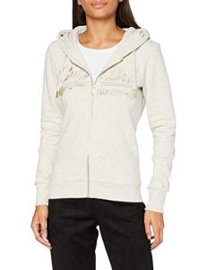 Superdry VL Tonal EMB Ziphood Pull Cardigan, Queen Marl, XL (Taille Fabricant:16) Femme