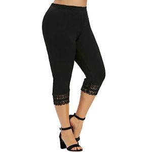 topxingch Pantalons De Yoga Pour Femmes, Taille Haute, Leggings De Sport, Bas De Jogging, Pantalons En Dentelle, Shorts De Course D'entraînement Noir L