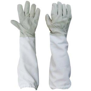 1 Paire de Gants avec Manches Longues Ventilées de Protection Professionnel Anti Abeille pour Apiculture Apiculteur – Gris et Blanc