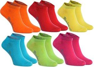 6 paires de chaussettes courtes en couleur orange, rouge, jaune, vert mer, vert, fuchsia, le coton de haute qualité certifié avec Oeko-Tex, les tailles 39 40 41