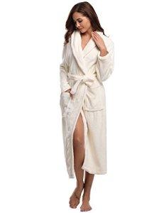 Aibrou Peignoir Femme Velours Robe de Chambre Polaire Femme Chaud Long Flanelle Peignoir de Bain Homme Eponge Hiver Longue pour le Cadeau de Noël EU44-46