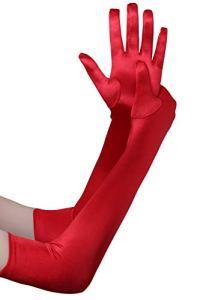 BABEYOND Gant de Soirée Femme Gant Long Satin Gant Mariage Satin Accessoire de Robe Année 1920 Style Classique pour Mariage Soirée Opéra Taille Élastique 52/54cm (Lisse Rouge 52cm)