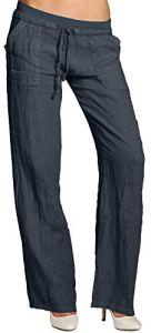 CASPAR KHS025 Pantalon en lin effet amincissant femme, Couleur:bleu foncé;Taille:44 XXL UK16 US14