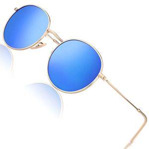 CGID E47 Petites lunettes de soleil polarisées inspirées du style retro vintage Lennon en cercle métallique rond