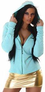 Desconocido – Veste de sport – Teddy – Manches Longues – Femme – Turquoise – 36