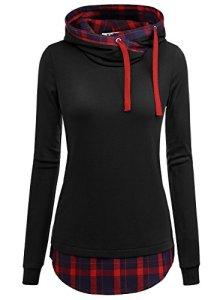 DJT Femme Sweat-shirt longue A Capuche 2 en 1 a Carreaux Tunique Noir M