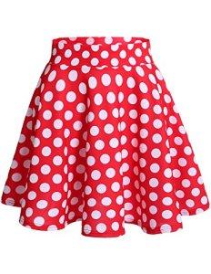 Dresstells jupe mini courte évasée en polyester, Red White Dot 2XL