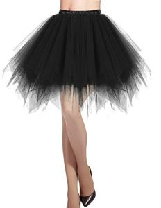 Dresstells jupon jupe ballet tutu court en tulle couleurs variées, Noir S