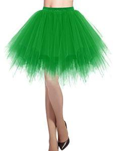 Dresstells jupon jupe ballet tutu court en tulle couleurs variées, Vert S