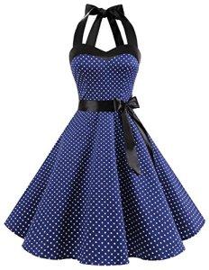 Dresstells Version3.0 Vintage 1950's Audrey Hepburn pin-up robe de soirée cocktail, style halter années 50 à pois, marine 2XL