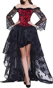 EMILYLE Femme Sexy Corset Bustier en Dentelle avec Jupe en Tulle Floral Guêpière Déguisement Gothique, Rouge 2 S
