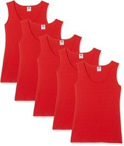 Fruit of the Loom Athletic Multipack, Débardeur Femme, Red, 38 (lot de 5)