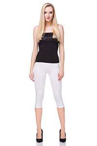 futuro fashion court Leggings coton classique 3/4 Pantalon haute qualitéété couleurs – Blanc, EU 36
