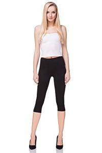 futuro fashion court Leggings coton classique 3/4 Pantalon haute qualitéété couleurs – Noir, EU 44/46