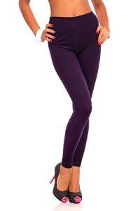 FUTURO FASHION Women's Full Length Cotton Leggings Soft, Plus Sizes Plum 24