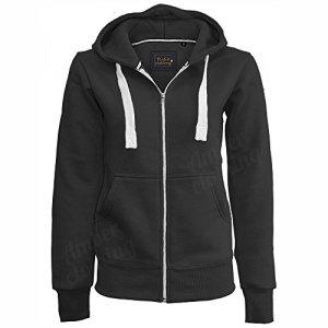 Generic – Sweat Femme Fille Uni Décontracté Manche Longue avec Capuche Extensible Zip Contraste Devant – XL, Noir
