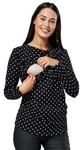 HAPPY MAMA. Femme Top de Maternité d'allaitement Double Couches Col Bateau. 002p (Noir à Pois, 40-42, L)