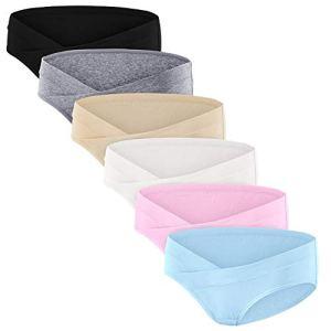 HBselect 6Pcs Culotte Maternité de Grossesse Femmes Enceintes de sous-vêtementsNoir+Gris+Chair +Blanc+Rose+Bleu,XL