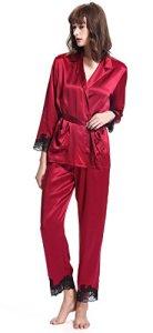 LILYSILK Ensemble de Pyjama en Soie pour Femme à Manches Longues 2 Pièces 22 Momme en Dentelle Chic L Rouge Vineux