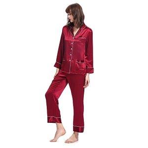 LILYSILK Pyjama en Soie Femme Vêtement de Nuit en Pure Soie Manches Longues Liseré Contrastant Poches Fonctionnelles Col Chemise Boutonné 22 Momme L Rouge Vineux