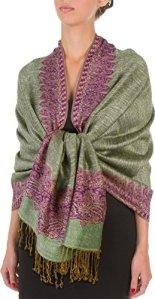 'Sakkas 70«x 28boderder Pattern doppelschichtiger écharpe pashmina Feel/Boléro (20+ élégant Couleurs)–New – Violet – Taille unique
