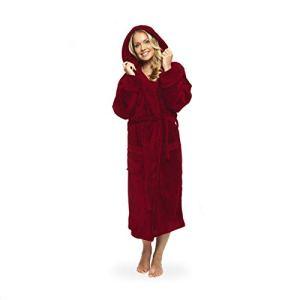 Lumaland peignoir de luxe en microfibre avec capuche pour femme et homme différentes tailles et couleurs rouge L