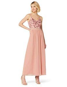 Marque Amazon – TRUTH & FABLE Robe Longue en Mousseline Femme, Rose (fard à paillettes/perles)., 46, Label:XXL