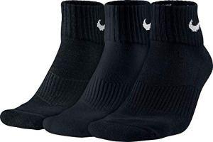 Nike – Cushion Quarter Chaussettes – Mixte adulte – lot de 3 – Noir (Noir/Blanc) – 46-50 EU (11-14.5 UK)